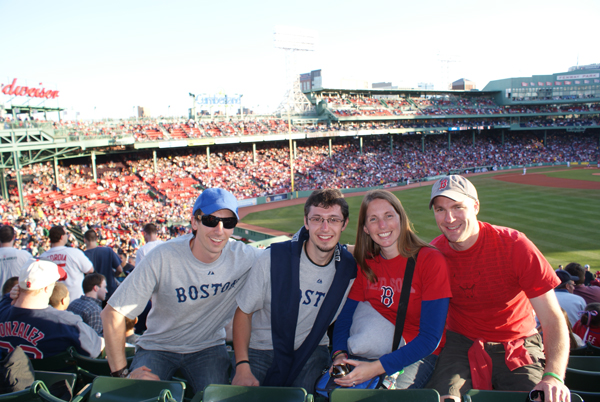 Igor and I with our incredible friends Carla and Mark Uzzell at a Boston   Red Sox game.