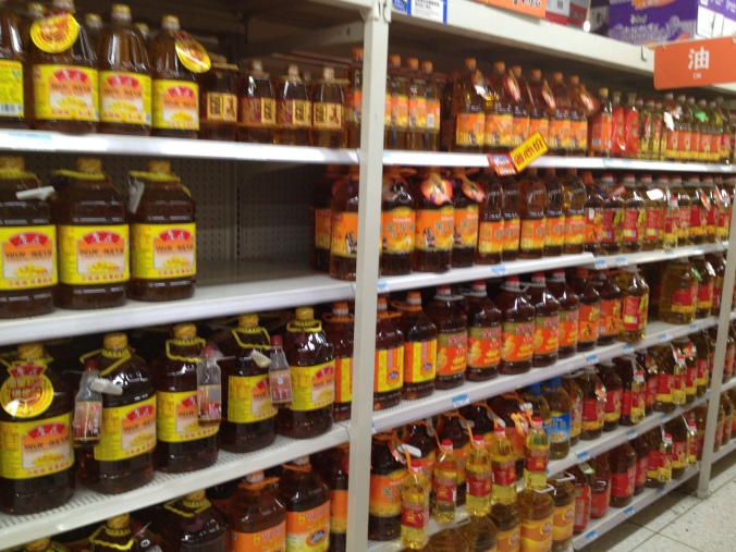 We picked up on little hints that our options would be limited...such as this full aisle of peanut oil in Wal-Mart