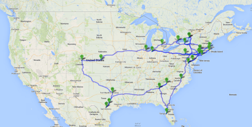 The 2014 Spring Tour Map