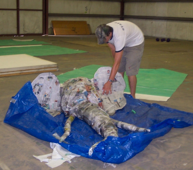 The birth of Smellephant! A giant paper mache elephant head!