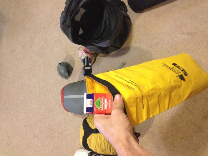 Keeping my Allerject auto-injector safe in a waterproof sack.
