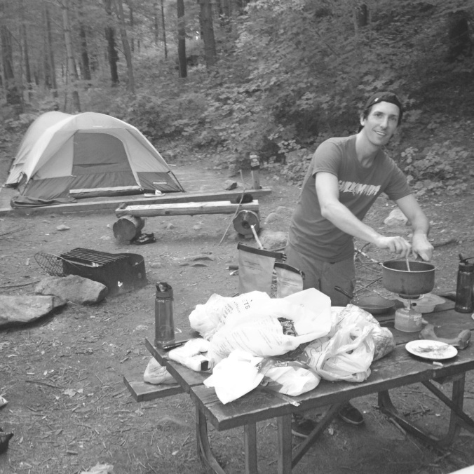 Chef Kyle in his rustic camping kitchen!