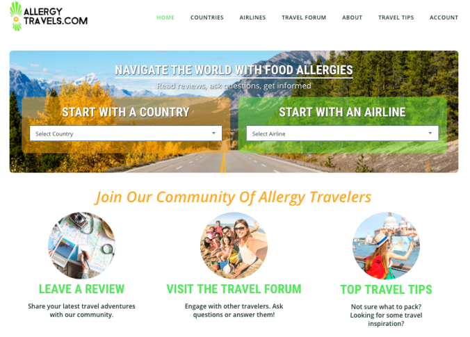 Allergy Travels Homepage Screenshot